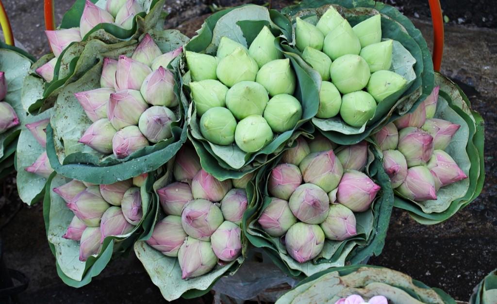 05-03-2014 Blomstermarked i Bangkok, lotusblomster