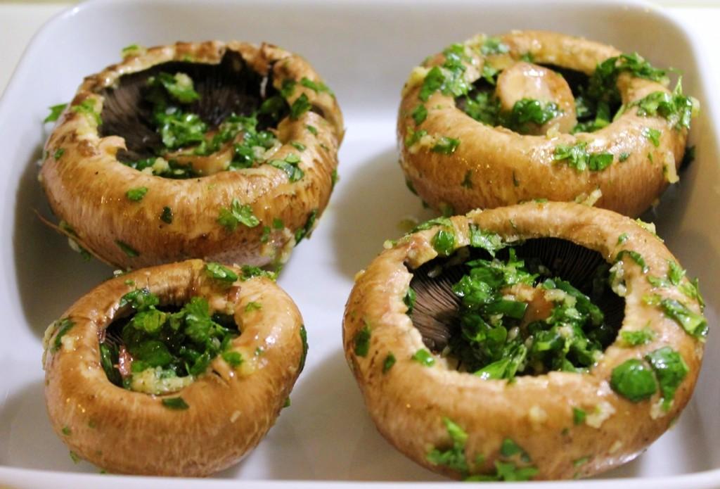 vegetarburger, svampe med urter, januar 2013