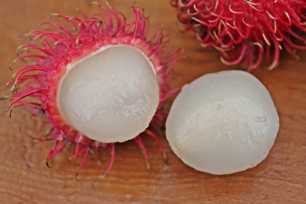 Sydøstasiens eksotiske frugter, rambutan1, Bali april 2014